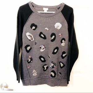 Jaclyn Smith Gray Sequin animal print sweater
